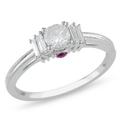 Miadora 14k Gold 1/2ct TDW Diamond and Pink Sapphire Ring (H-I, I2-I3)