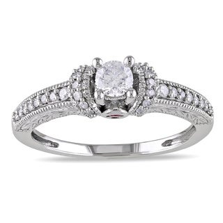 L'Amour Enrose by Miadora 14k Gold 1/3ct TDW Diamond and Pink Sapphire Engagement Ring (H-I, I2-I3) with Bonus Earrings