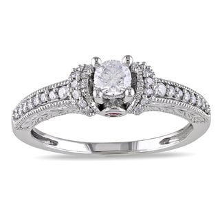 Miadora 14k Gold 1/3ct TDW Diamond and Pink Sapphire Engagement Ring (H-I, I2-I3)