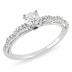 14k Gold 1/2ct TDW Diamond and Pink Sapphire Ring (H-I, I2-I3)