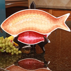 Fishes Aluminum Chip N Dip Serving Tray with Enamel Coating (India)
