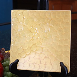 Square Aluminum Dish with Yellow Enamel Coating (India)