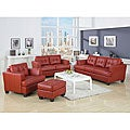 Marianna Red Bicast Leather 3-piece Sofa Set