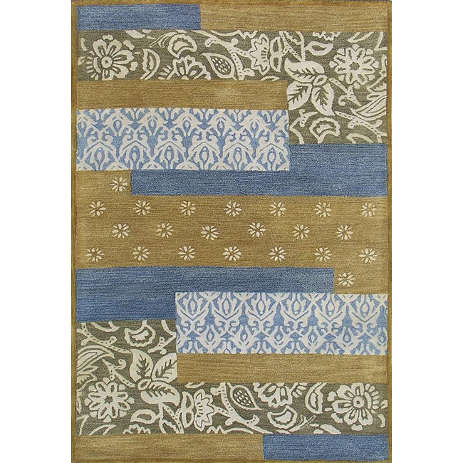 Hand-tufted Metro Mixed Blue Wool Rug (8' x 11')