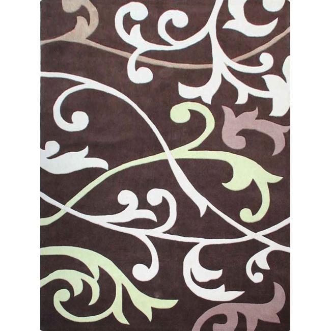 nuLOOM Handmade Pino Scroll Vines Brown Rug (3'6 x 5'6)