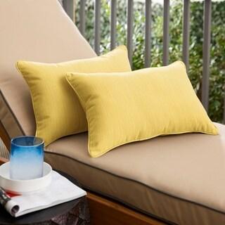 Sunbrella Textured Yellow Indoor/Outdoor Lumbar Pillow, Set of 2
