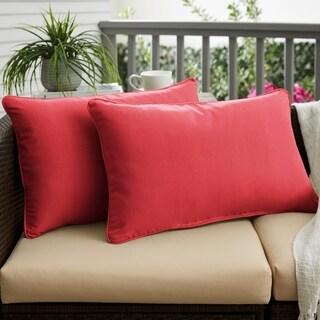 Textured Crimson Corded Outdoor Pillows (Set of 2)