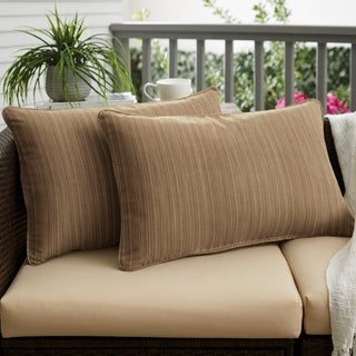 Textured Walnut Corded Indoor/ Outdoor Pillows (Set of 2)