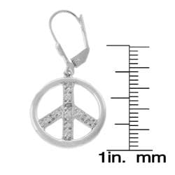 Finesque Sterling Silver Diamond Accent Peace Sign Earrings