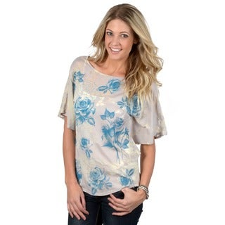 California Bloom Women's Sublimation Print Shirred Top