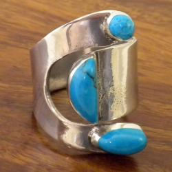 Handcrafted Silver Turquoise Attitude Ring (Mexico)