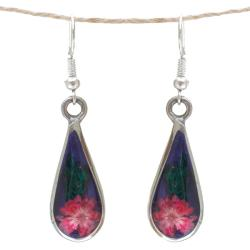 Handcrafted Red Flower Drop Earrings (Mexico)