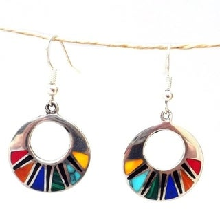 Handcrafted Natural Stone Silver Mosaic Earrings (Mexico)