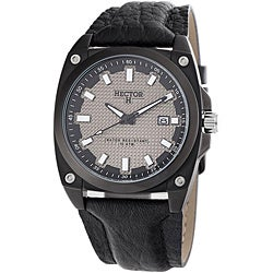 Hector H France Men's 'Fashion' Black Leather-Strap Quartz Watch