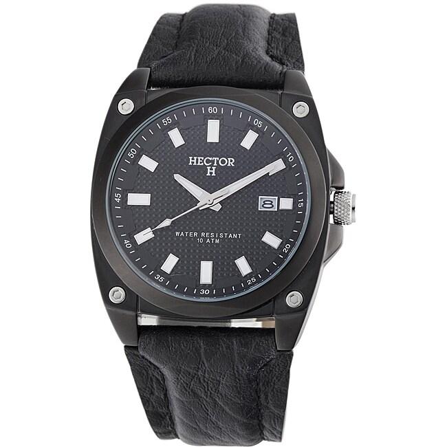Hector H France Men's 'Fashion' Leather Strap Quartz Watch