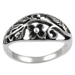 Tressa Sterling Silver Flower and Leaves Ring