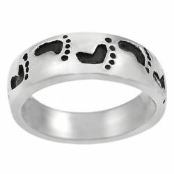 Tressa Sterling Silver Oxidized Footprint Band Ring