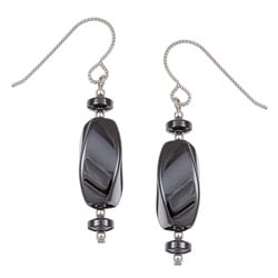 Argentium Silver Hematite Twisted Drop Earrings