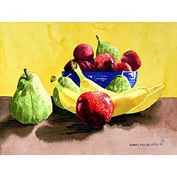 Ed Wade, Jr. 'Plums And Pears 2' Watercolor Art Print