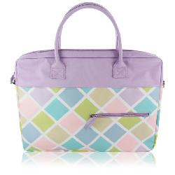 Jacki Lavender Diamond Pattern 15-inch Laptop Tote
