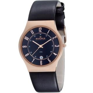 Skagen Men's 233XXLRLB Black Calf Skin Quartz Watch with Black Dial