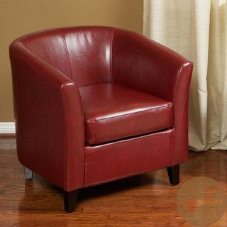 Christopher Knight Home Red Bonded Leather Tub Club Chair