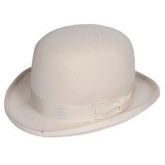 Ferrecci Men's White Wool Bowler Hat