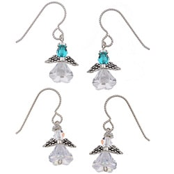 MS DJ Casanova Argentium Silver Angel Birthstone Earring Set