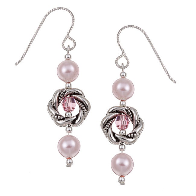 MSDjCASANOVA Argentium Silver Crystallized Pearl/ Crystal Earrings