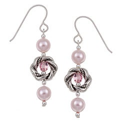 Argentium Silver Crystallized Pearl/ Crystal Earrings