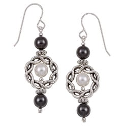 Argentium Silver Black/ White Crystal Earrings