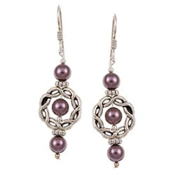 Argentium Silver Burgundy Crystallized Pearl Earrings