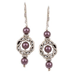 MSDjCASANOVA Argentium Silver Burgundy Crystallized Pearl Earrings