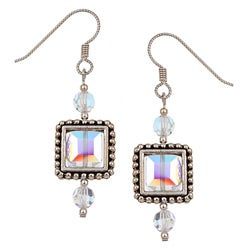 Argentium Silver Square Pewter Framed Crystal Earrings