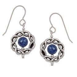 MSDjCASANOVA Argentium Silver Sodalite and Pewter Frame Earrings
