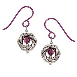 MSDjCASANOVA Amethyst-colored Crystal Nobium Earrings