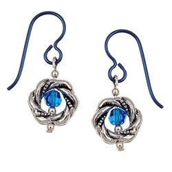 Pewter Capri-colored Crystal Earrings