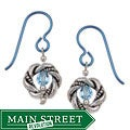 Pewter Aqua-colored Crystal Earrings