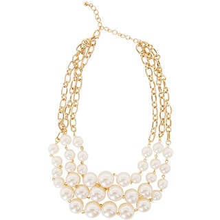 NEXTE Jewelry Goldtone Cream Color Faux Pearl Bib Necklace