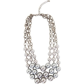 NEXTE Jewelry Grey Faux Pearl Bib Necklace