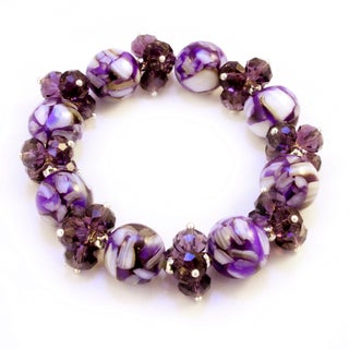 Marble and Crystal Amethyst Purple Stretch Bracelet