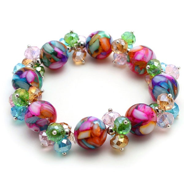 Multi-Colored Marble & Crystal Stretch Bracelet