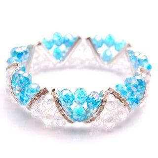 Handmade Aqua Blue Crystal and Rhinestone Stretch Bracelet