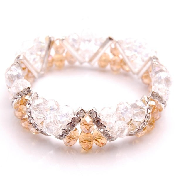Light Orange Crystal and Rhinestone Stretch Bracelet