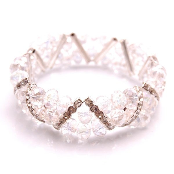 Clear Crystal and Rhinestone Stretch Bracelet