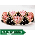 Jet Black and Light Pink Crystal and Rhinestone Stretch Bracelet