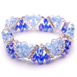 Sapphire Blue and Cobalt Blue Crystal and Rhinestone Stretch Bracelet