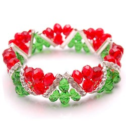Green and Red Crystal and Rhinestone Stretch Bracelet