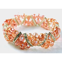 Light Pink Crystal and Rhinestone Stretch Bracelet