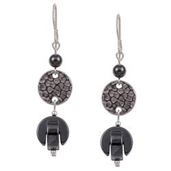 MSDjCASANOVA Argentium Silver Hematite Interlocking Drop Earrings